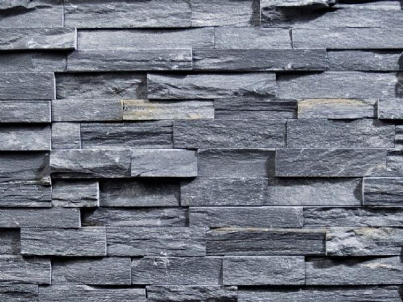 Schiste Ardoise Noire Stone Wall