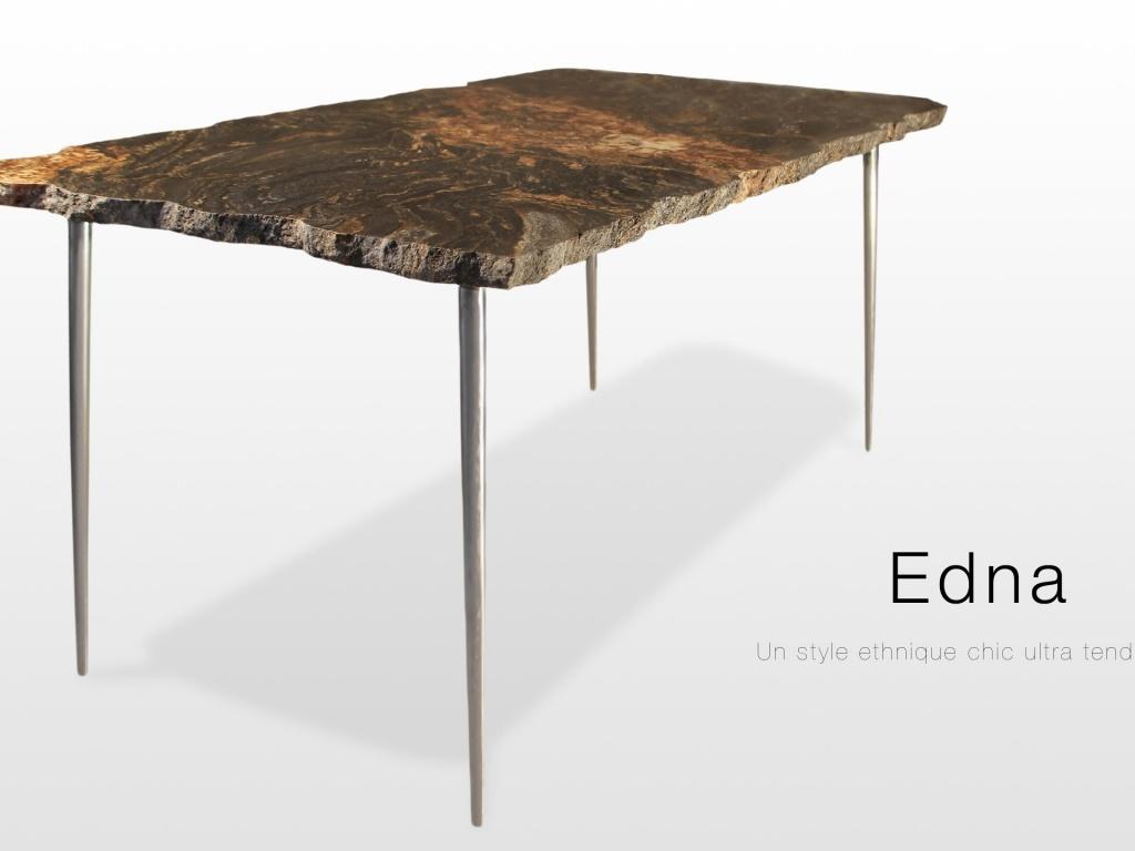 Mobilier Edna: table basse en granit magma finition brute