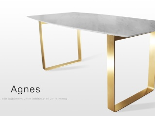 Agnes: table de salon en marbre blanc statuaire