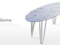Selma: table basse design en marbre blanc Calacatta
