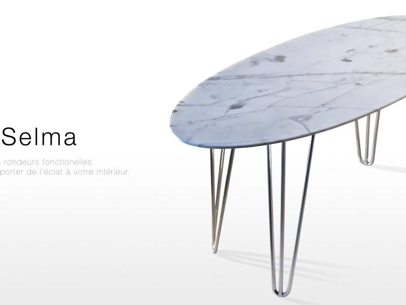 Selma: table basse design en marbre blanc Calacatta ...