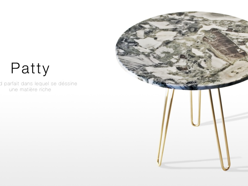 Patty: table d'appoint design en Onyx vert et laiton poli