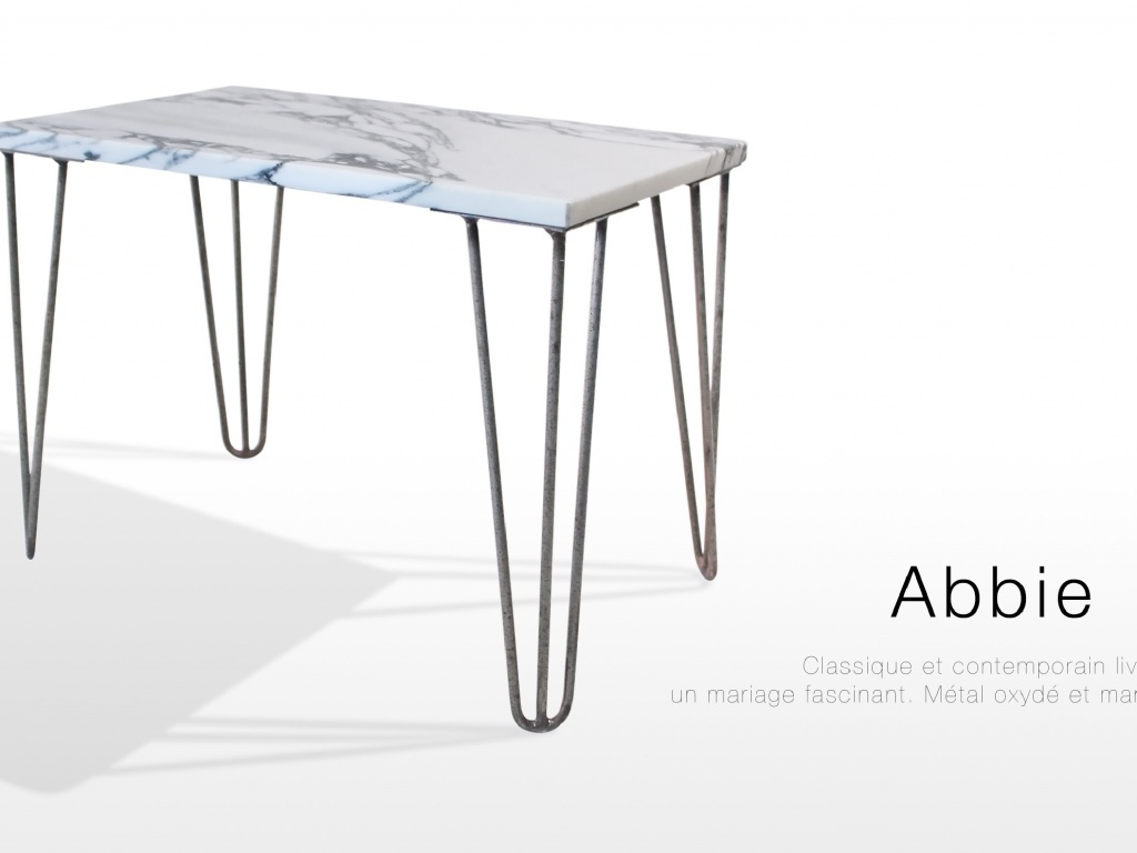 Table basse en marbre blanc Arabescato