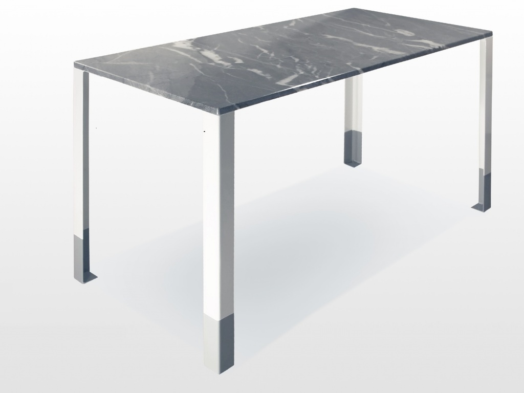 Connie: table bureau design en marbre bleu de savoie