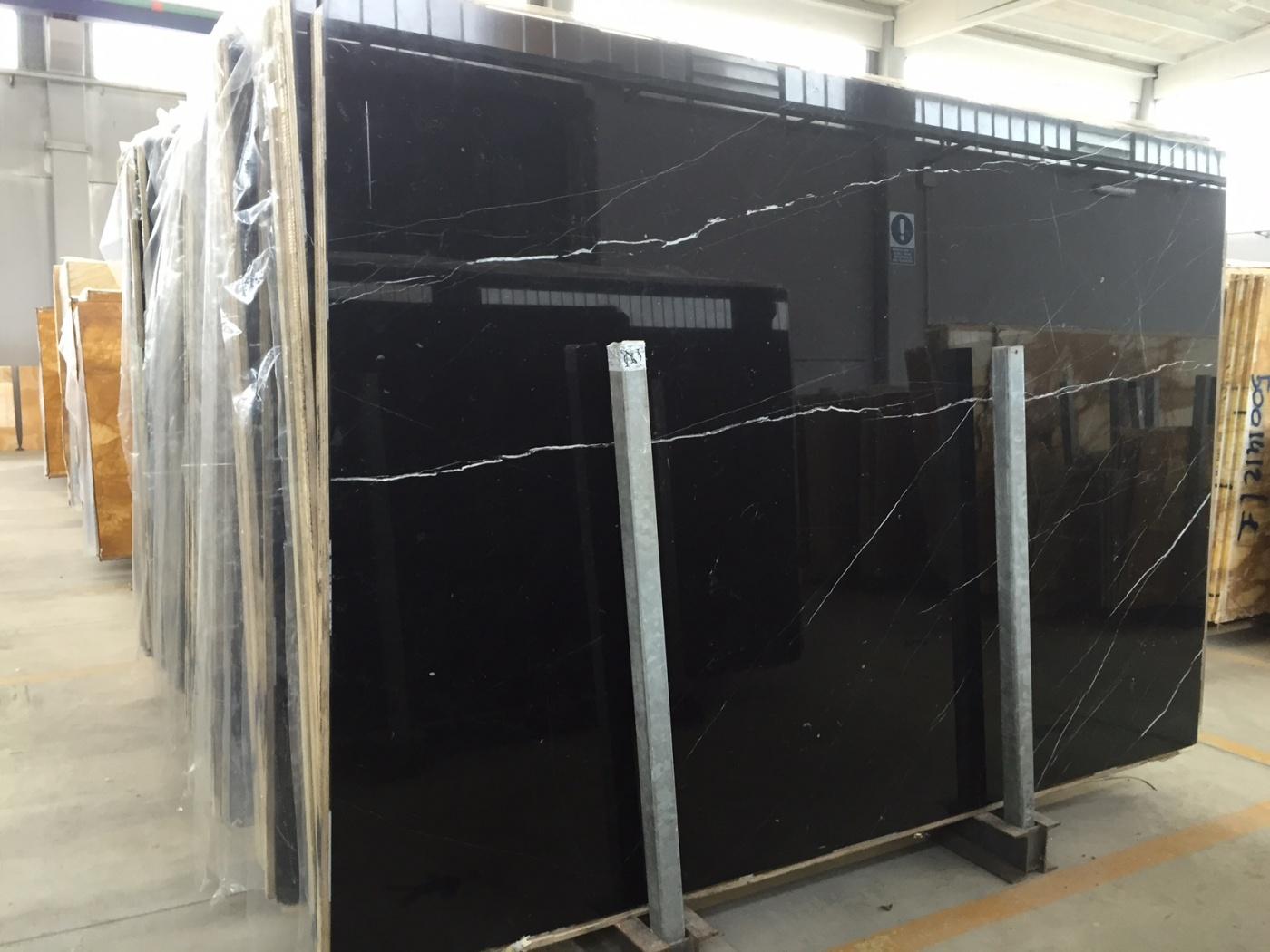 Marbre Black Silk marble slabs