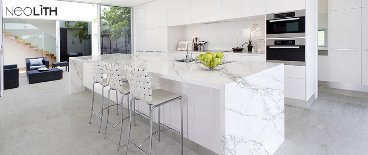 Plan de travail céramique façon marbre Blanc Statuaire