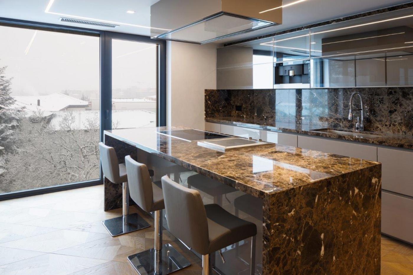 Granit Plan de travail de cuisine en marbre marron emperador poli brillant