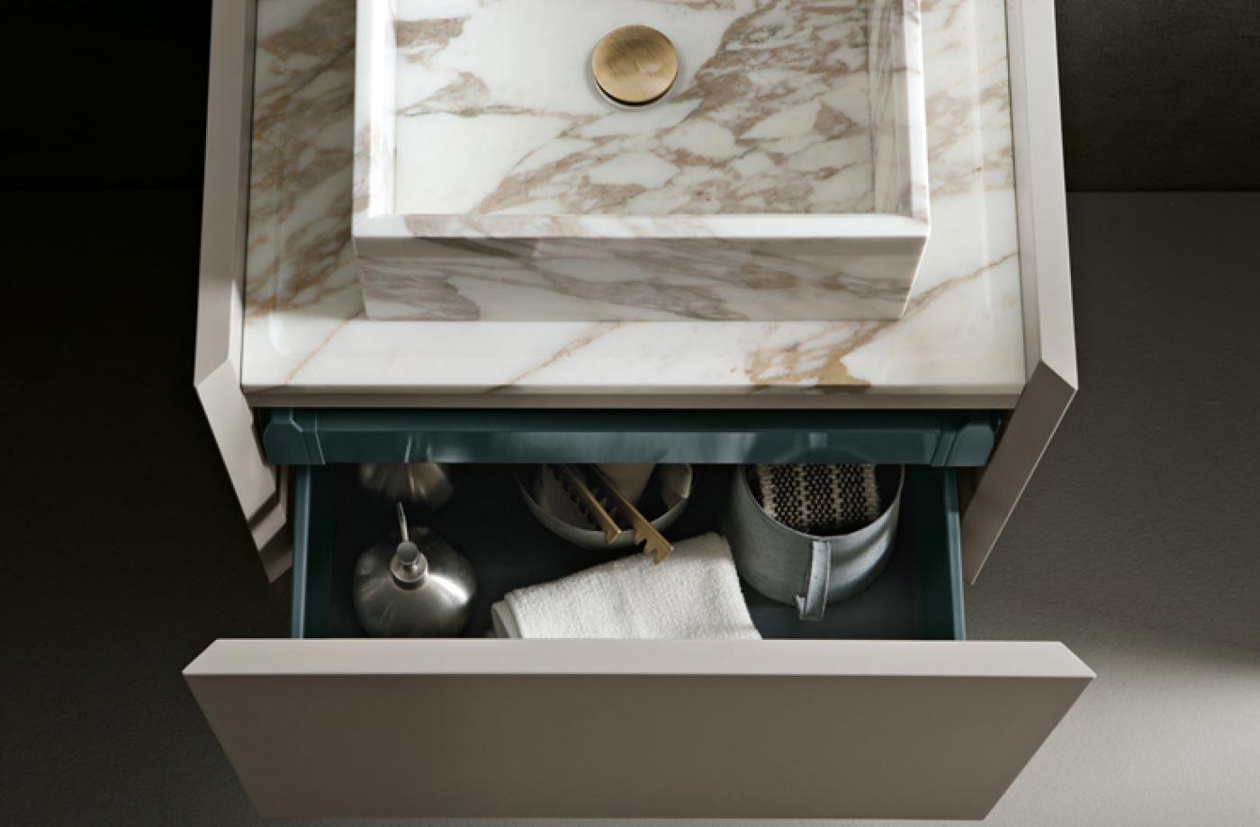 Granit Vasque et Plan Calacata Vagli Oro sur meuble Altamarea Must (design Willy Dalto) www.altamareabath.it