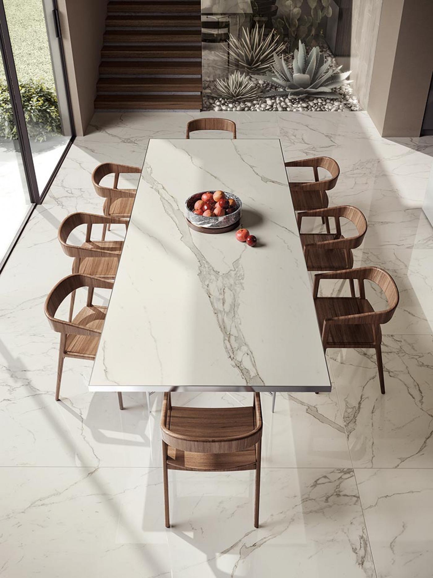 Mobilier table et sol ceramique calacatta