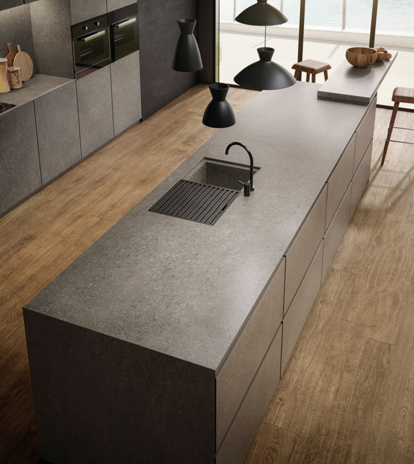 Composite Quartz Céramique pierre grise