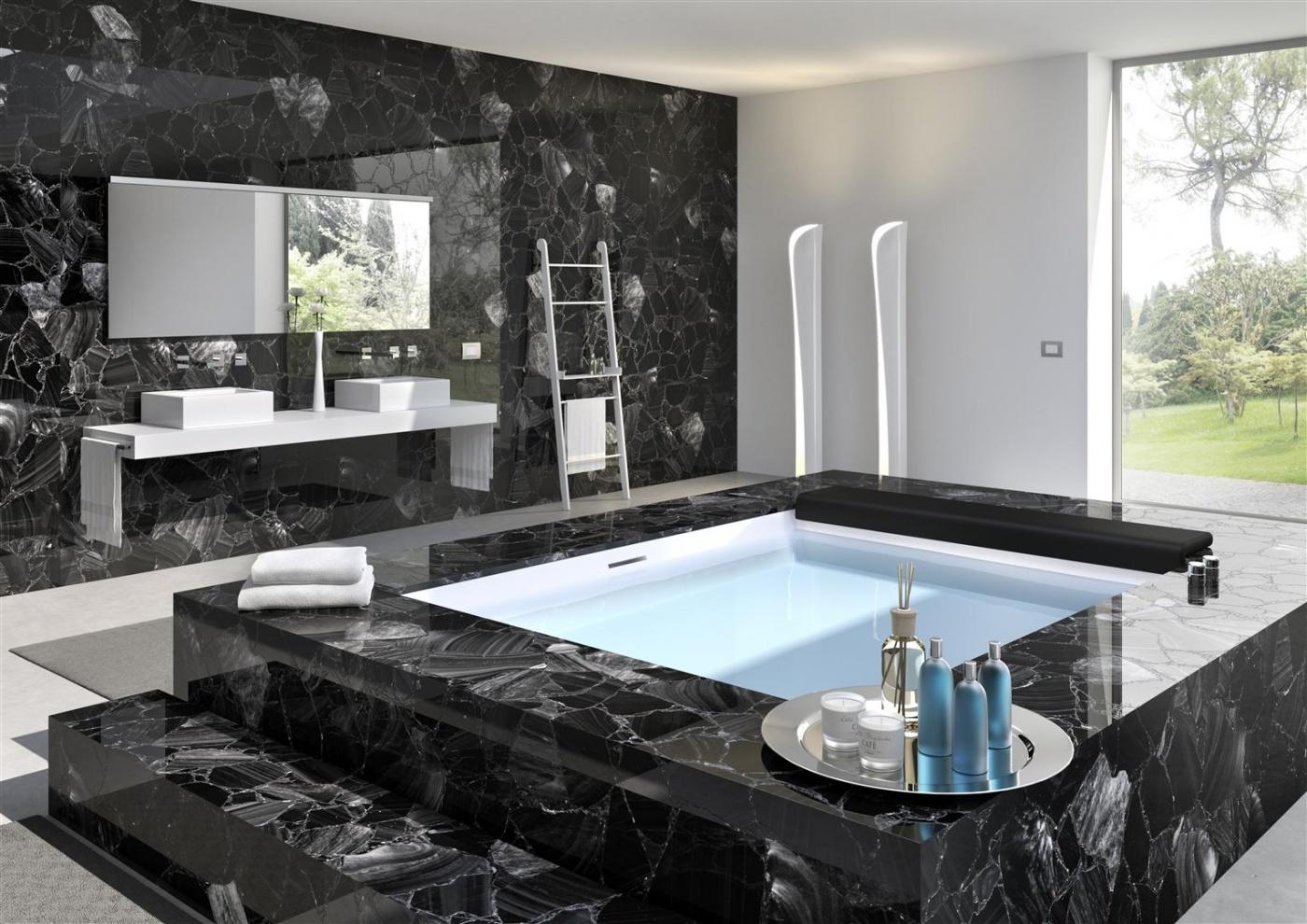 Pierre calcaire Black Obsidian bath