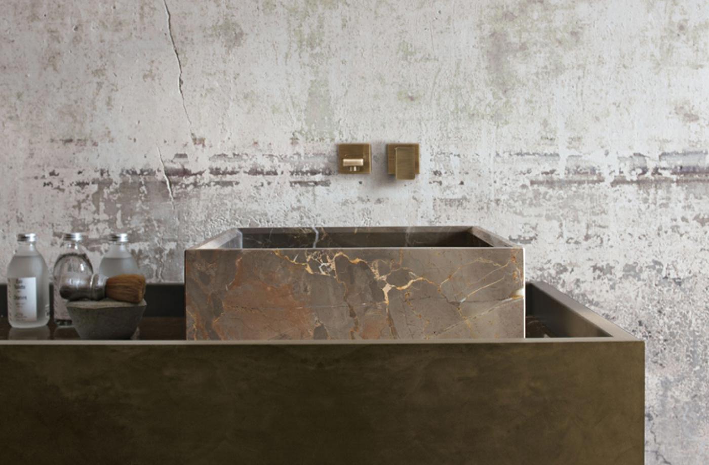 Granit Bains avec meuble et robinet Altamarea Must. Vasque en Arabescato Orobico Gold.