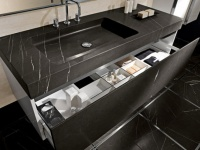 Sink and cabinet Nero Marquina