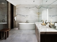 Salle de bains Marbre blanc Paonazetto