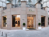 Wall Cladding with Hauteville stone for Christian DIOR Kiev shop (Ukraine)