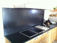 Kitchentop Granit Black Zimbabwé leather finished. LAFOURCADE Architects