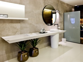 Silestone Blanco Zeus Extreme Plan Vasque  Salle de bains à Monaco