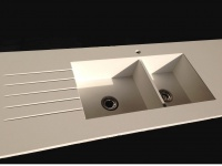 Double Sink made in Absolute White Quartz.