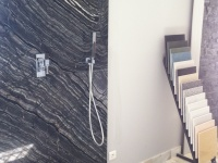 Wall and bottom of shower with Silverwave marble