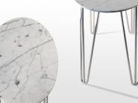 Selma: table basse en marbre blanc Calacatta  Pied tête d'épingle (hairpin legs) en acier chromé