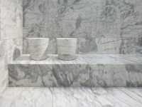 Honed Statuario Venato tiles and sinks