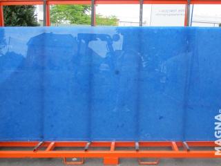 Ocean Blue tranche de verre poli recyclé et reconstitué
