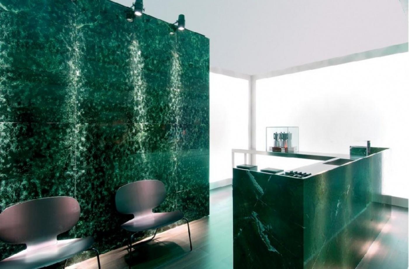 Green Bowenite, murs et comptoir