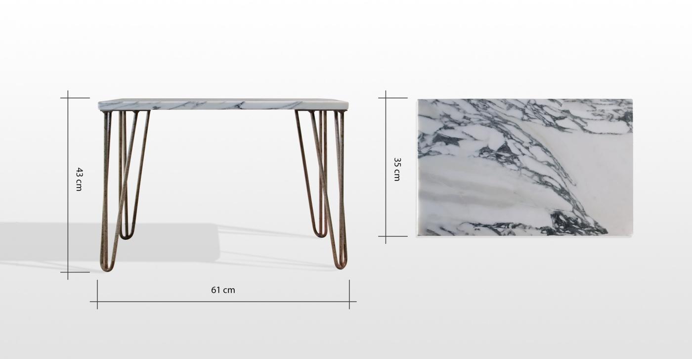 Abbie: table basse en marbre blanc arabescato