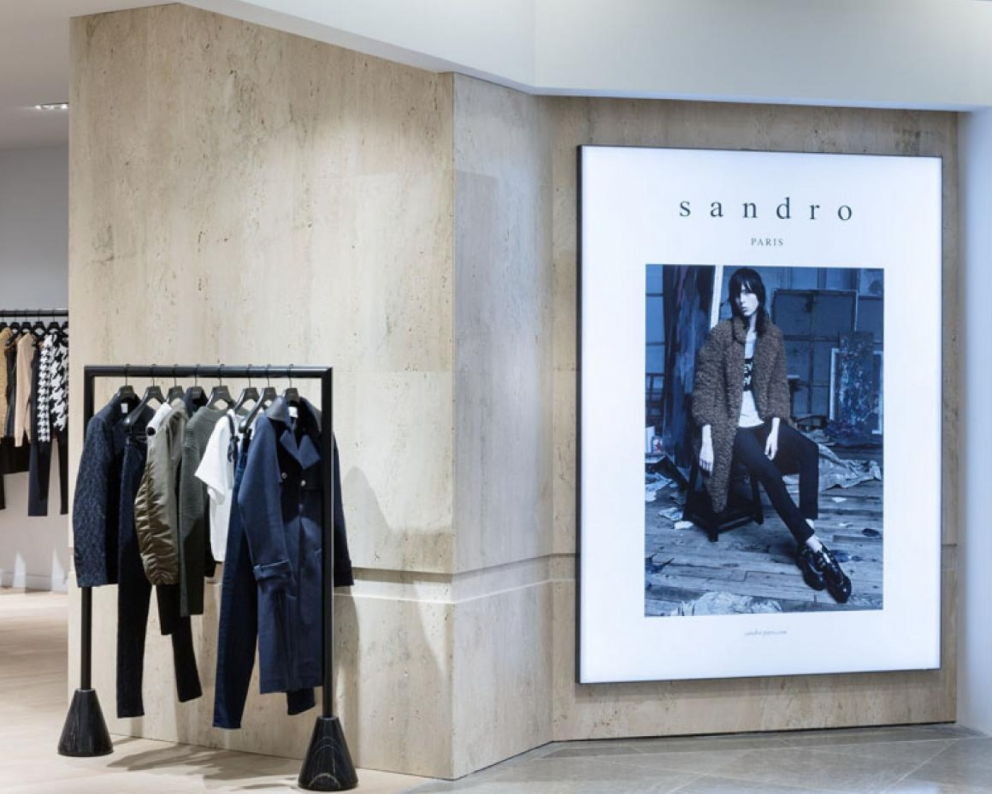 Travertino Navona, Sandro shop, Printemps Haussmann Paris